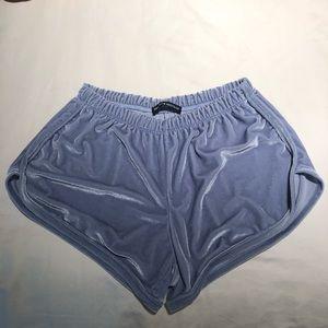 Brandy Melville blue velvet shorts